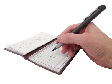Image of a hand with a pen about to sign a cheque in a cheque book.